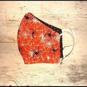 Face Mask- Halloween Spiders/Spiderweb on Orange